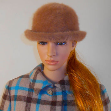 """Betmar Cloche Hat  - Beige Color - Faux Fur - 7"""" Diameter - 22"""" Circumference - Free US Shipping"""