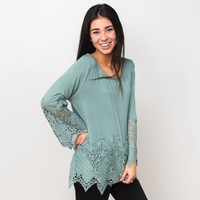 Chadwick Lace Hem Top - Sage | Called To Surf