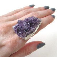 Amethyst Druzy Ring. Raw Amethyst Ring. Amethyst Cluster Ring. Drusy Ring. By Victory Jewelry.