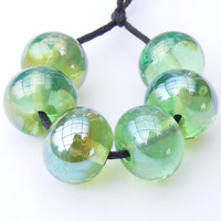 Handmade lampwork bead set of streaky green beads - metallic reflective emerald glass beads