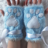 Cute Blue Furry Cat Wolf Bear Kitten Paw Fingerless Gloves Wrist Warmers Halloween Costume Festival Fursuit