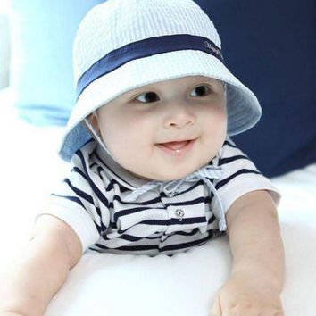PEAP78W Kids Baby Unisex Boys Girls Bucket Hats Infant Toddler Striped Sun Beach Caps 6-24M