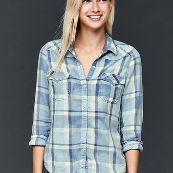 Gap Women 1969 Slim Western Plaid Shirt