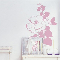 Romantic Flower Shaped PVC Wall Decal Stickers (31.4*19.6cm) (Pink)