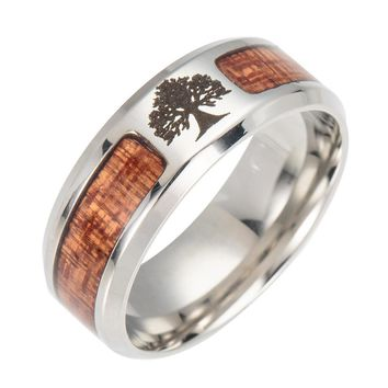 Nordic Vikings Runes Amulet Tree of Life Yggdrasil Stainless steel jewelry mosaic wood Semi-circle Ring