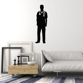 Vinyl Wall Decal Doctor Silhouette Hospital Clinic Medical Room Art Stickers Mural (ig5534)