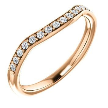 14k Rose Gold Band For 9x4.5mm Marquise Ring