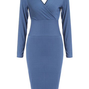 Blue V-Neck Long Sleeve Knitted Midi Dress