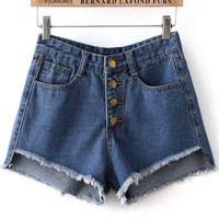 Blue Ripped Hem Denim Shorts