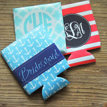 Bachelorette party koozies, can hugger, personalized koozies, party favor, drink insulators, beer can hugger, wedding party favor, summer