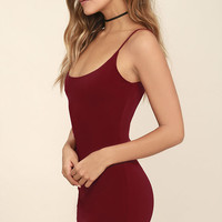 True Friends Wine Red Bodycon Dress