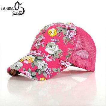 ESBG8W Hot Sale Ladies Baseball Caps Flower Printing Summer Style Hip Hop Cool Cap for Women Quick Dry Adjustable Sun Hat Free Shipping