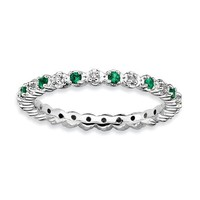 Sterling Silver Stackable Expressions Emerald & Diamond Alternating Eternity Ring
