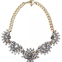 Silver Pearls Crystal Statement Necklace - Happiness Boutique