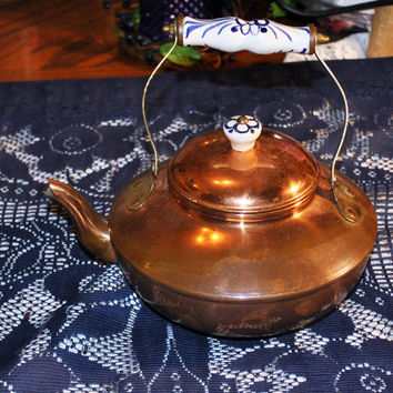 Vintage Solid Copper Tea Kettle-Blue Delft Handle-Portugal-Kitchenware-Collectible
