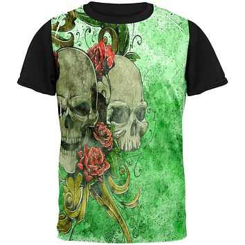 St. Patricks Day Deadly Wild Irish Rose Skull Tattoo All Over Mens Black Back T Shirt