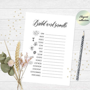 Bridal shower word scramble game, Bridal word scramble, Wedding shower word scramble, Printable word games, Bridal games, Instant Download