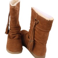 Nine West Marley Womens Chestnut Suede/Leather Mid Calf Fashion Winter Boots