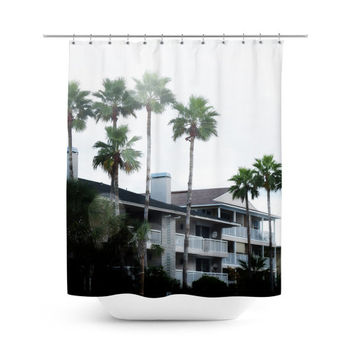 Beach Casitas 2 - Shower Curtain, White Green Tropical Palm Trees, Hanging Tub Curtain, Beach Surf Boho Chic Vanity Style Bath Accent. 71x74