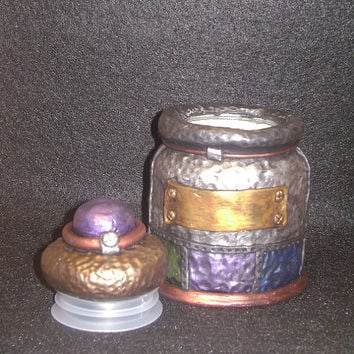 Steampunk Industrial Inspired Stash Jar polymer clay painted metallic
