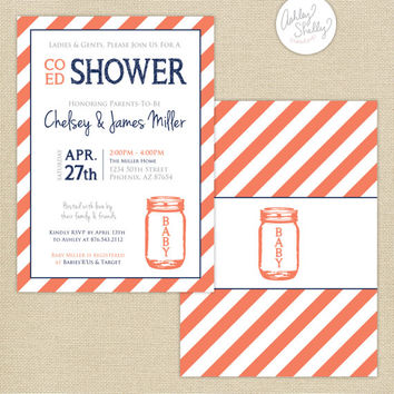 Co-Ed Baby Shower Mason Jar and Stripes Invitation : Coral/Navy/Gray