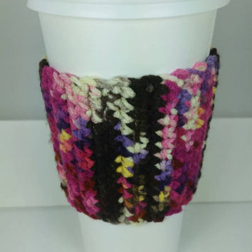 Colorful, Hand Crocheted Cup Coozie, Can Coozie, Beverage Coozie, Travel Mug Sleeve, beverage sleeve