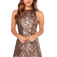 Brown Sequined Crew Mini Dress