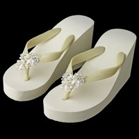 High Wedge Bridal Flip Flops with Freshwater Pearl Accents