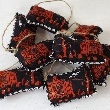Halloween puffy ornaments, set of 8, primitive Fall bowl fillers, folk art knob hangers, black & orange with haunted house and tombstones
