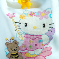 White bag, canvas Emiane, manufactured and hand-embroidered in cross stitch, with Hello Kitty and her friend teddy bear for girl or woman