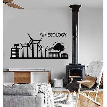 Vinyl Wall Decal Ecology Logo Solar Panels Protection Of Nature Stickers (2567ig)