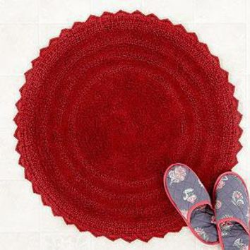 Round Bath Mat, Red  - Bath Rugs