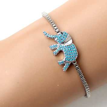 Turquoise silver elephant bracelet lucky elephant zircon adjustable bracelet fashion jewelry christmas gift for her