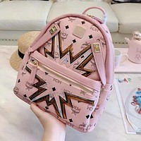 MCM High Quality Newest Popular Women Casual Daypack School Bag Leather Backpack Pink