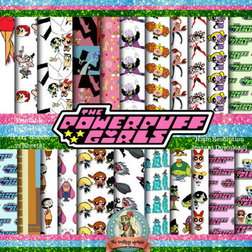 PowerPuff Girls Scrapbook Paper, Powerpuff Girls Printable Paper, Powerpuff Girls Paper, Powerpuff Girls Digital Paper, Instant Download