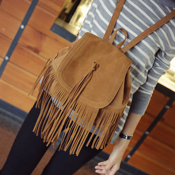 College Back To School Hot Deal Casual Comfort On Sale Stylish Korean Vintage Tassels Double Sided Backpack [6582270471]