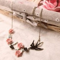 Swallow and Plum Fashion Necklace  | LilyFair Jewelry