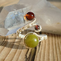 Thumb Ring - Dark Cherry Baltic Amber, Serpentine, Garnet - Adjustable Wire Wrapped Ring - Made to Order - Silver Plated