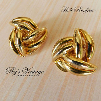 1960's Holt Renfrew Gold Plated Pinwheel Clip Earring, New Old Stock Jewelry On Card