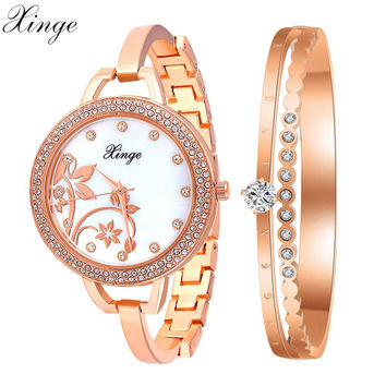 Xinge Brand Women Watches Rose Gold Silver Steel Crystal Bracelet Flower Wristwatches
