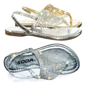 Addilyn2 Children Girl's Party Flat Sandal w Bling Rhinestone Crystal Drapes
