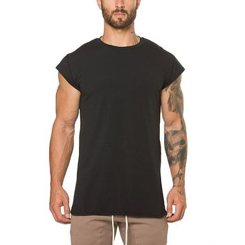clothing fitness t shirt men fashion extend long t shirt summer gyms short sleeve t-shirt cotton bodybuilding cross fit tops