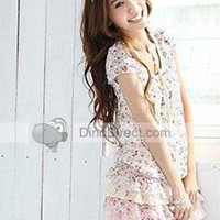 Qooeen Stylish Floral Ruffle Waves Round Collar Short Sleeve Chiffon Women Dress - DinoDirect.com