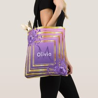 Gold and violet pink with flowers monogrammed tote bag