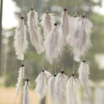 White Dreamcatcher Mobile, Baby Mobile, Feather  Bohemian Decor, White Nursery Decor, Feather Mobile.