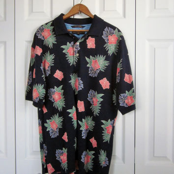 Vintage Hawaiian Golf Shirt Tommy Hilfiger Cotton Knit Collared Polo Shirt Hawaiian Flowers Mens Large Navy with Coral Blue Green