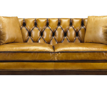 "Durant 67"" Loveseat, Mustard Leather, Sofas & Loveseats"