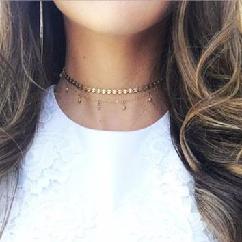 Copper Handmade Sequins Collar Double Layer Gold Plated Necklace