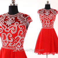 2015 red backless beads short prom dress with capped short sleeve,80s formal dress with sequins,A-Line ball gown,mini cocktail dress,RS1041