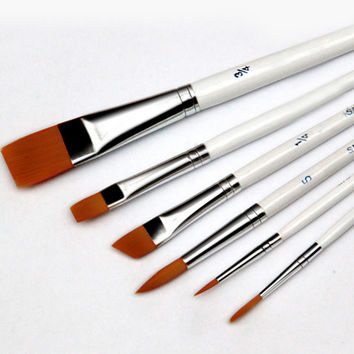 6pcs/Set Painting Brush Oil Paint Nylon Hair Water Color Painting Brush Acrylics Brush Art Set Drawing For Supplies D0621